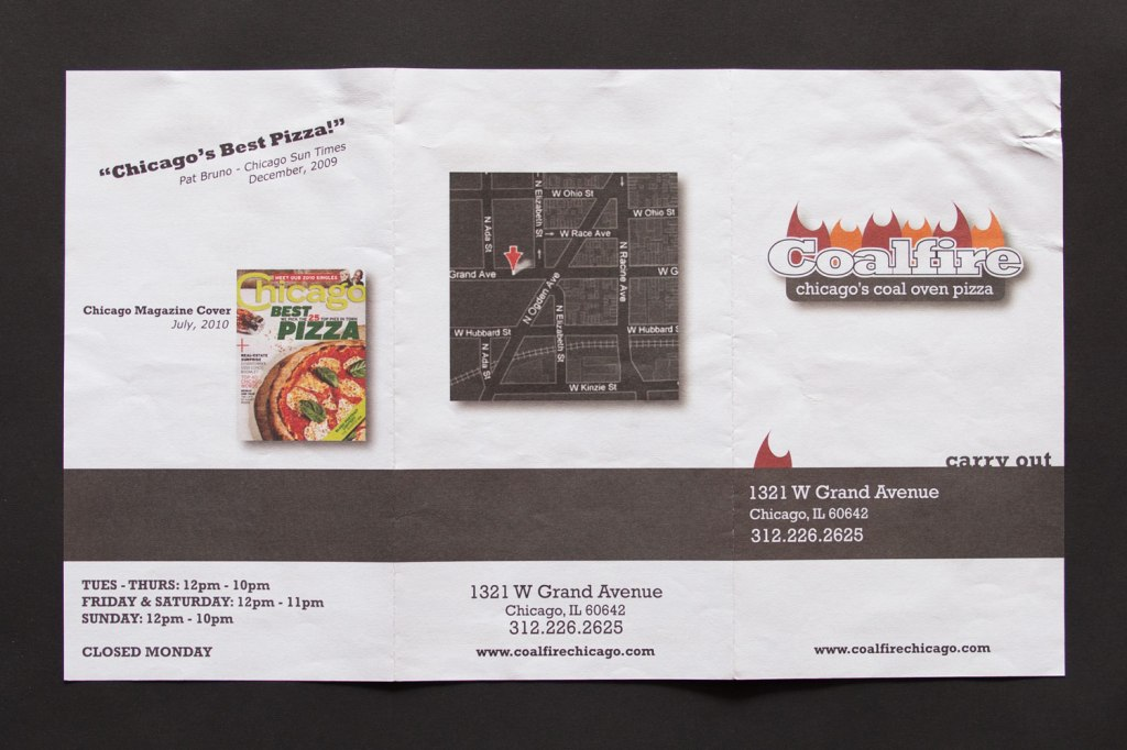 Coalfire Pizza Carry Out Menu
