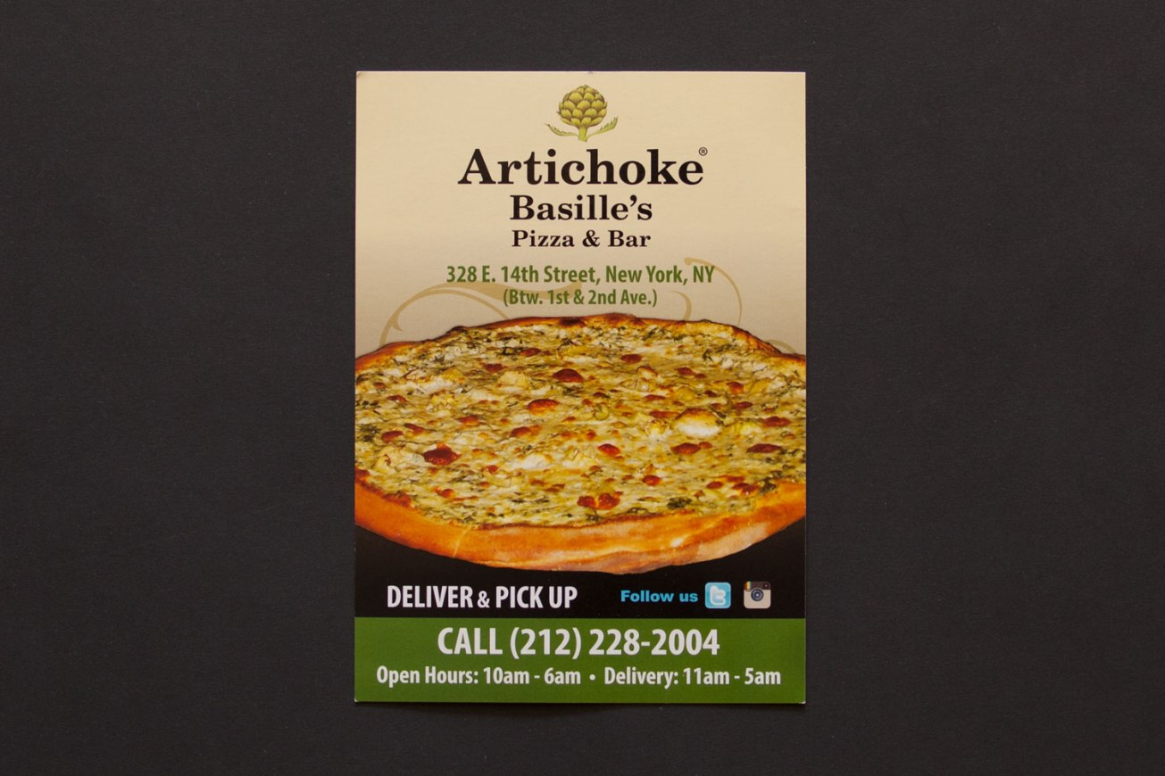 Artichoke Basille's Pizza Postcard