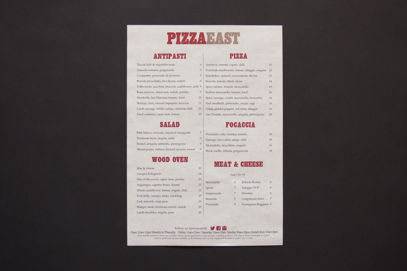Pizza East Menu