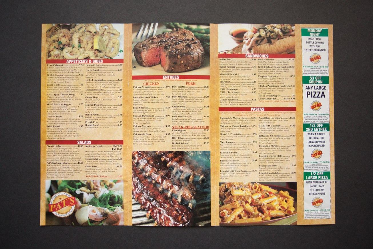 Pat's Pizzeria & Restaurante Menu